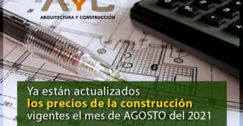 Ya están actualizados los precios de la construcción vigentes el mes de OCTUBRE del 2021